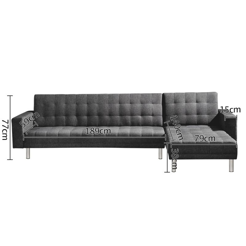 6 Seater Modular Futon Sofa Bed With Chaise In Grey