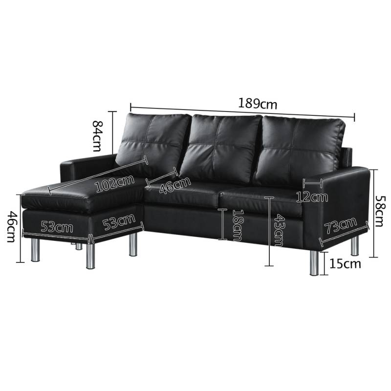 3 seater sofa with chaise lounge or ottoman black buy 30 for Black leather chaise sale