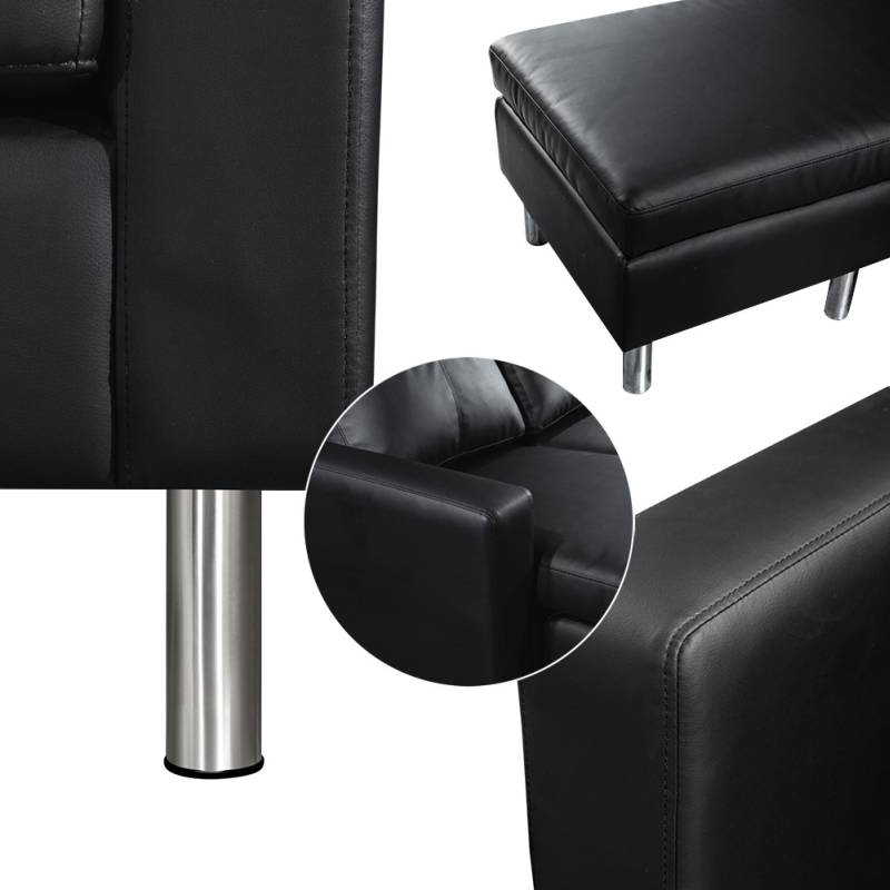 3 seater sofa with chaise lounge or ottoman black buy 30 for Buy chaise lounge sofa