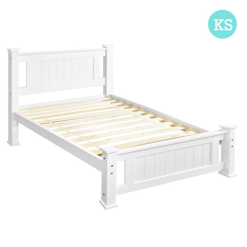 King Single Beds Sa : King single size white wooden bed frame buy sale