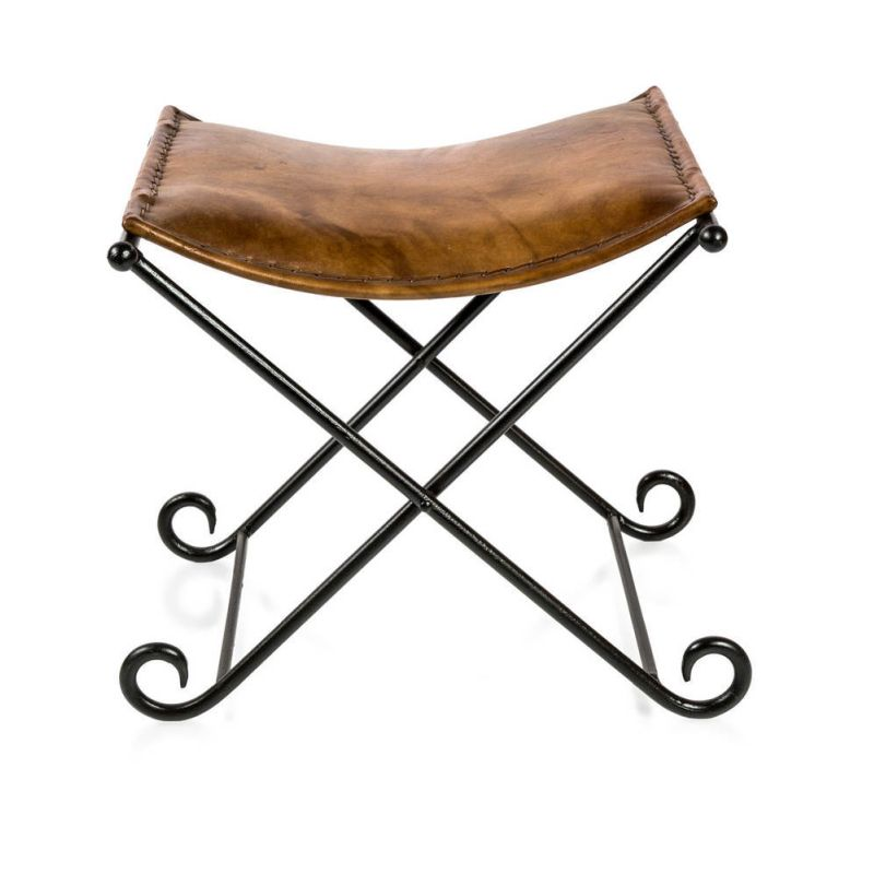 Aged Brown Leather Iron Leather Folding Stool Buy Stools