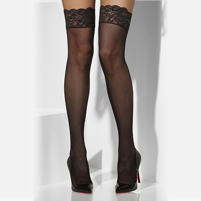 Fishnet hold up stockings with black lace tops buy lingerie for Best place to buy stockings