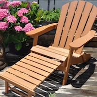 Classic Adirondack HDPE Chair & Built in Footstool