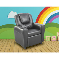 PU Leather Kid's Size Recliner Sofa Chair in Black