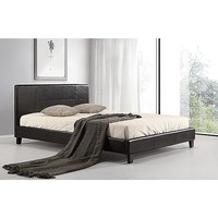 Double Size PU Leather Stitched Bed Frame in Black