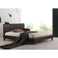 Double Size Stitched PU Leather Bed Frame in Brown