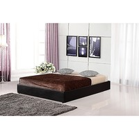 Queen Size Platform Bed Base in Black PU Leather