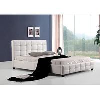 Palermo Deluxe Queen PU Leather Bed Frame White