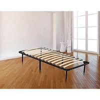 Single Size Wooden Slatted Metal Bed Base in Black