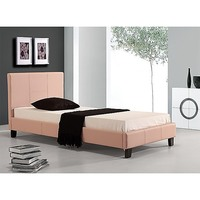 Single Size PU Leather Bed Frame w/ Wood Slats Pink