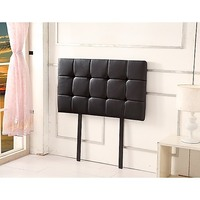 Deluxe Single Size PU Leather Bed Head in Black