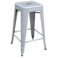 4x Replica Tolix Steel Metal Bar Stool Silver 66cm