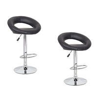 2x Round Slim Back PU Leather Bar Stool in Black