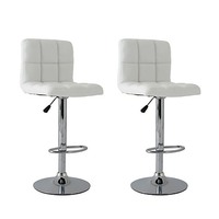 2x Grid Gas Lift PU Leather Bar Stools in White