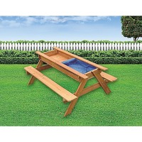 Kids Toddler Wooden Sand & Water Picnic Play Table