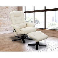 Massage Chair Recliner & Ottoman Remote Cream
