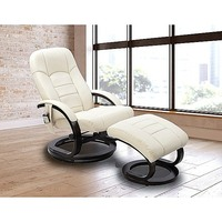Leather Electric Recliner Massage Chair w/ Ottoman