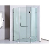 Frameless Glass Diamond Shower Screen w Door 1mx1m