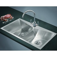 Top Mount Angled Double Bowl Kitchen Sink 850x450mm