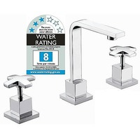 Bathroom Basin Sink Cross Tap & Spout Set in Chrome