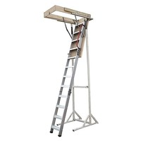 Pull Down Attic Loft Ladder with Rail in Aluminium