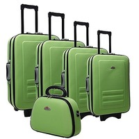 5 Size Lime Fabric Travel Luggage Set w Beauty Case