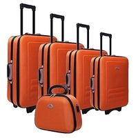 5 Size Orange Fabric Travel Luggage Set Beauty Case