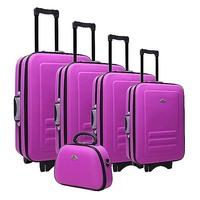 5 Size Purple Fabric Travel Luggage Set Beauty Case