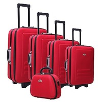 5 Size Red Fabric Travel Luggage Set w Beauty Case