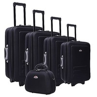 5 Size Black Fabric Travel Luggage Set Beauty Case