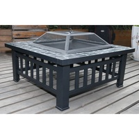 18in Square Metal Fire Pit Outdoor BBQ Grill Heater