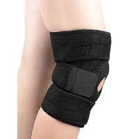 Black Flexible Adjustable Knee Support Brace O/S