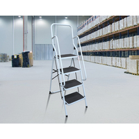 Foldable Steel 4 Step Ladder Non-Slip Dual Handrail