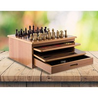10 in 1 Brown Wooden Slide-Out Chess Board Game Set
