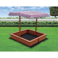 Kids Wooden Toy Sandpit + Adjustable Outdoor Canopy