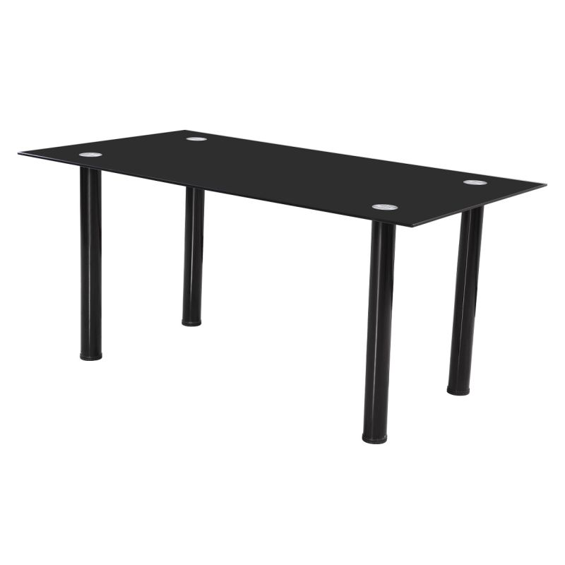 Large tempered glass dining table in black buy dining tables for Tempered glass dining table