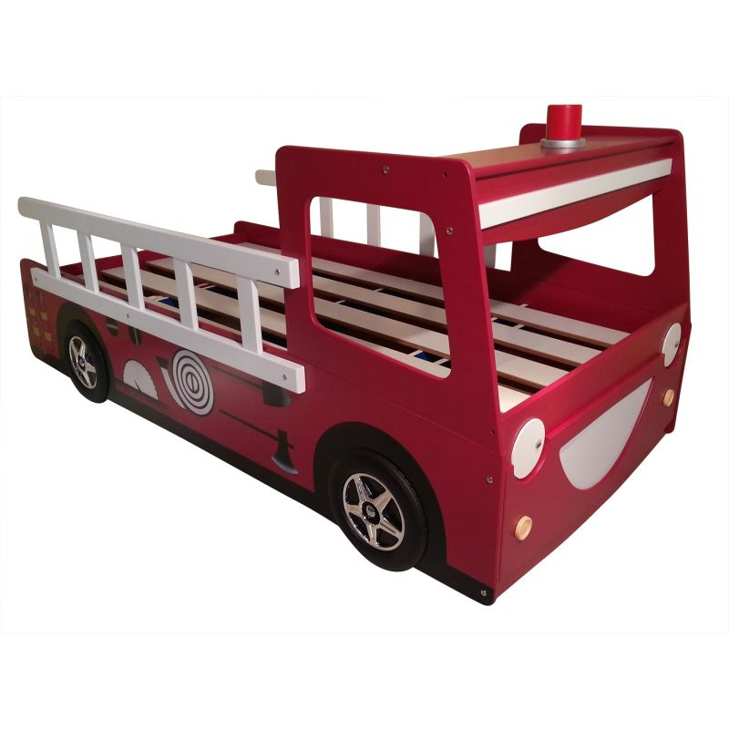 Kids Toddler Red Fire Engine Truck Bed Frame