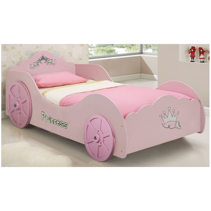 Princess Car Toddler Kids Novelty Bed Frame In Pink