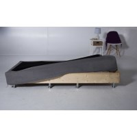King Single Pine Bed Base w/ Fabric Cover in Grey