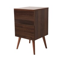 Retro Style Wooden Bedside Table in Walnut Finish