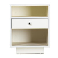 Venus Bedside Table w/ 1 Drawer 2 Shelves in White