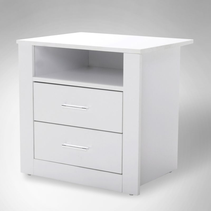 bondi 2 drawers bedside table in white buy furniture. Black Bedroom Furniture Sets. Home Design Ideas