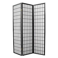 3 Panel Timber Folding Divider Privacy Screen Black