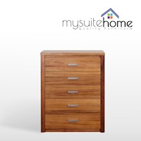Vodka Tallboy With 5 Drawers Blackwood Veneer