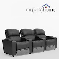Sophie 3 Seater Black Leather Lounge Theatre Suite