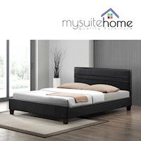 Denny Queen Size PU Leather Bed Frame Matte Black