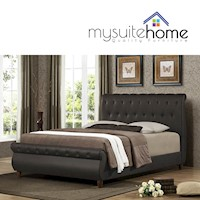 Ansel Brown Chesterfield Style Queen Bed Frame