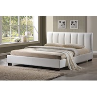 Paris King Size Stitched PU Leather Bed Frame White
