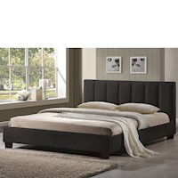 Paris Double Stitched PU Leather Bed Frame Black
