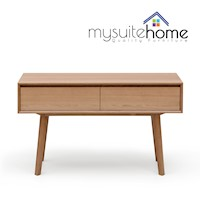 Alison Modern White Oak Veneer Console Table - 1.3m